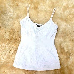 BCBG MAXAZRIA womens crocheted knit white tank top